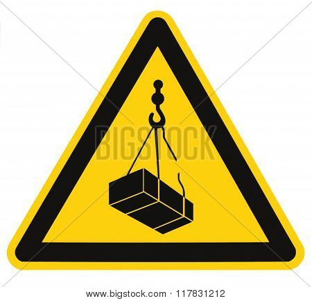 Danger overhead, crane load falling hazard risk sign, cargo icon signage, isolated black triangle over yellow, large macro closeup