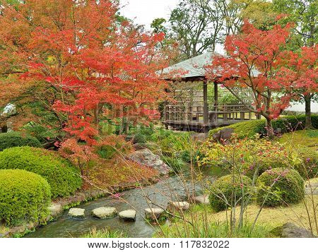 Koko-en Garden in autumn at Himeji, Hyogo Prefecture, Japan.