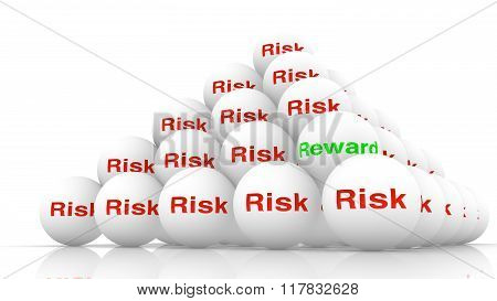 Pile Of White Balls With The Word Risk In Red .
