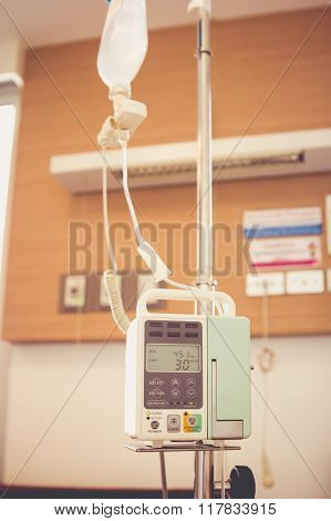 Iv Machine. Infusion Pump Intravenous Iv Drip. Retro Style.