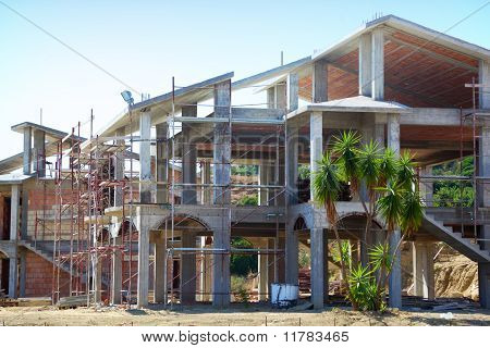 Sceleton Of New Suburb Cottage House With Front Staircase And Palm Trees On Hill