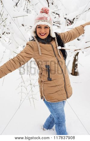 Laughing Woman In Snow Park