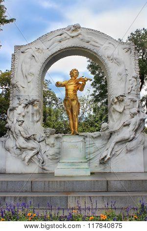 Gilded Bronze Monument Of Johann Strauss In Stadtpark In Vienna