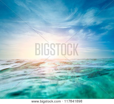 Abstract underwater background with soft light sun