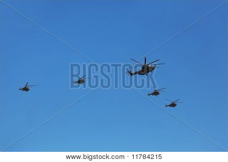 Most Load Lifting Helicopter Mi-26 Accompanied By Group Of Mi-8 On Parade