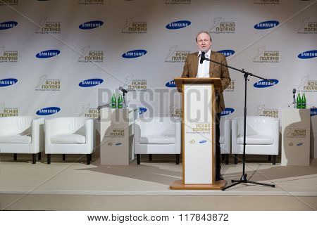 RUSSIA, MOSCOW - 05 MAR, 2015: Director of museum Vladimir Tolstoy in suit is standing on stage at literary award Yasnaya polyana.