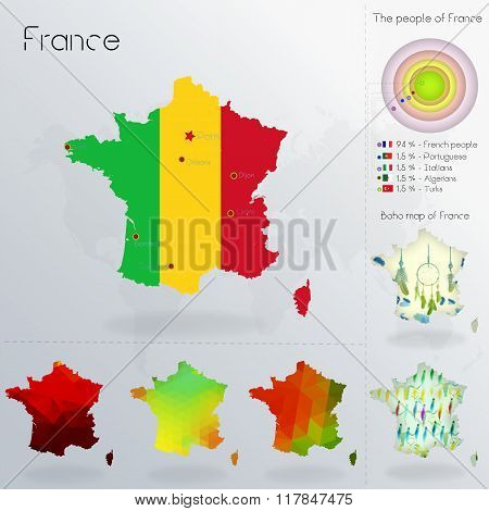 Modern Geometric And Political Map Of France. Malians People Immigration To France. Malians People D