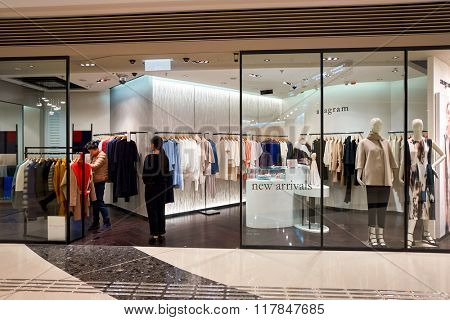HONG KONG - JANUARY 27, 2016: shopwindow of  anagram the store at Elements Shopping Mall. Elements is a large shopping mall located on 1 Austin Road West, Tsim Sha Tsui, Kowloon, Hong Kong
