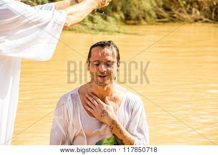 Baptism In A River Of Jordan, Israel
