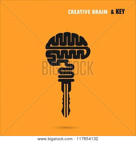 Creative Brain Sign With Key Symbol. Key Of Success.concept Of Ideas Inspiration, Innovation, Invent