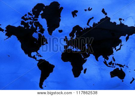 Abstract watercolor world map with texture