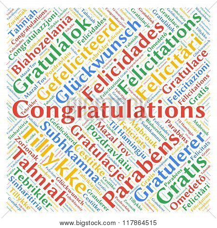Congratulations in different languages word cloud concept poster