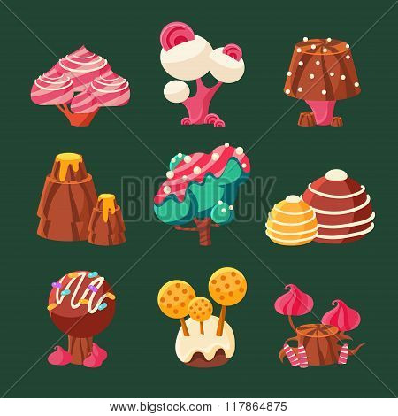 Cartoon Sweet Candy Land. Vector Illustration