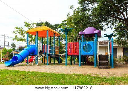 Modern Kids Toy Playground In Park