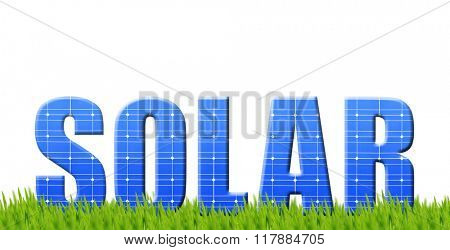 The word Solar from solar energy panels on white background