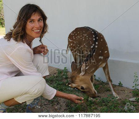 Woman And Deer