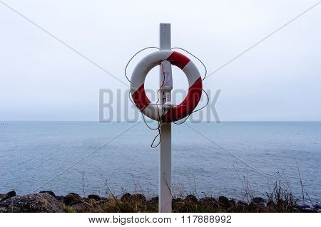 Rescue Buoy at the cliffs at Stevens Klint a Danish island poster
