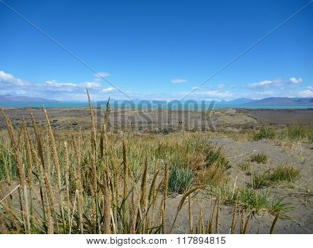 Wide Grassy Pampa In Argentinian Patagonia