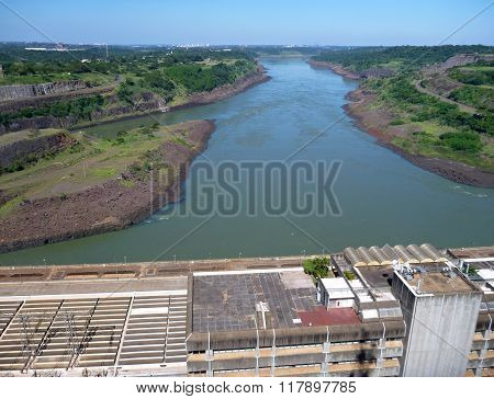 View From The Top Of Itaipu Dam On Rio Parana