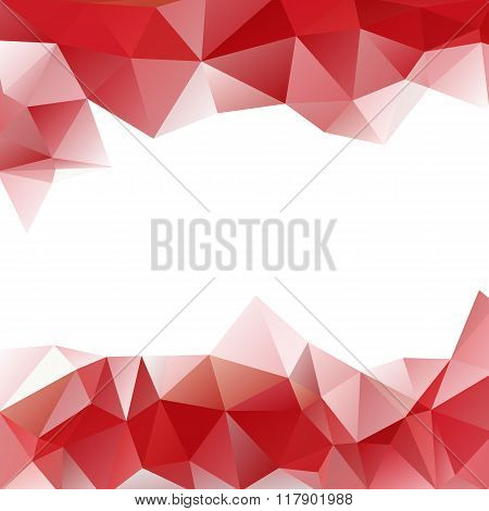 Vector Background Of Triangles Polygon Valentines Day Design. Web Design In Red Frame Border