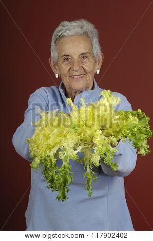 Senior Woman With Escarole