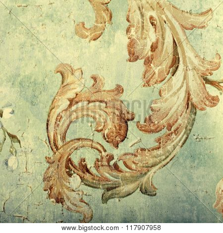 Detail Of Vintage Shabby Chic Wallpaper