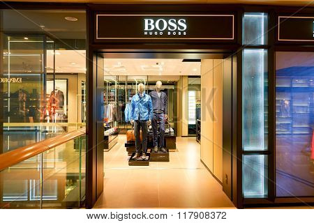HONG KONG - JANUARY 27, 2016: shopwindow of BOSS store at Elements Shopping Mall. Elements is a large shopping mall located on 1 Austin Road West, Tsim Sha Tsui, Kowloon, Hong Kong