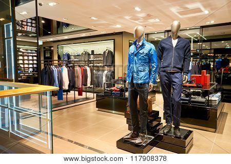 HONG KONG - JANUARY 27, 2016: inside of BOSS store at Elements Shopping Mall. Hugo Boss AG, often styled as BOSS, is a major German luxury fashion company