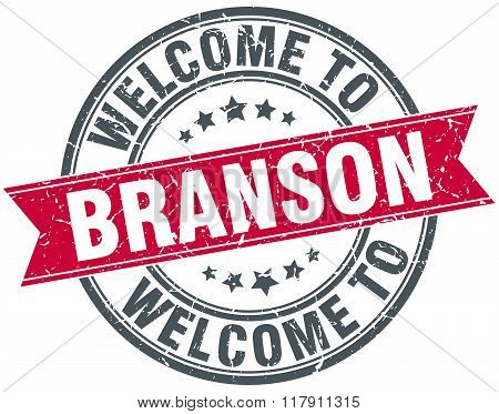 welcome to Branson red round vintage stamp