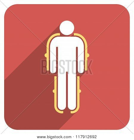 Exoskeleton Flat Rounded Square Icon With Long Shadow