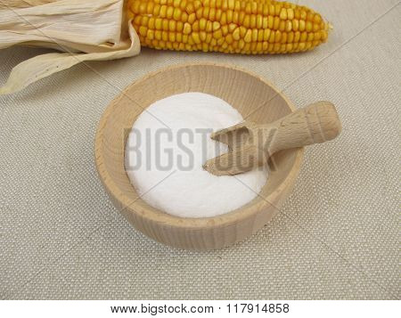 Dextrose in wooden bowl from maize starch poster