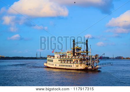 February 3, 2016 in New Orleans, LA:  Creole Queen Paddlewheeler built in 1850 where tourists can experience a historic cruise on the Mississippi River from the Port of New Orleans taken on the Mississippi River in New Orleans, LA