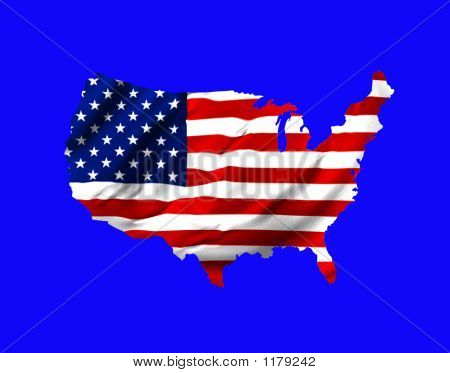 American Flag Shaped As Map Of  U.S.A. On Blue