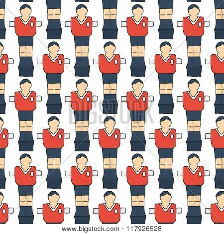 Table football sketch. Seamless pattern with hand-drawn cartoon icon - old-fashioned foosball player