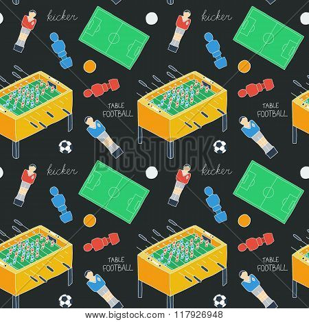 Table football sketch. Seamless pattern with hand-drawn cartoon icons - old-fashioned foosball playe