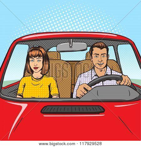Family couple in car pop art style vector