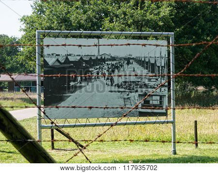 Display Of A Historic Picture At Nazi Transit Camp Westerbork