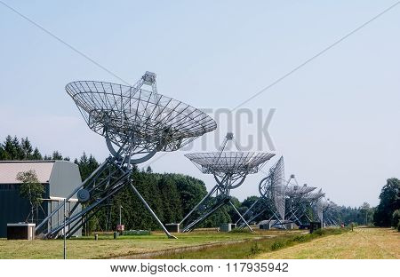 Synthesis Radio Telescope at Westerbork on the site of former WWII transit camp Westerbork. It is one of the most powerful observatories in the world poster