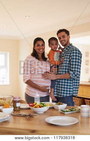 Portrait Of Family With Pregnant Mother And Young Son