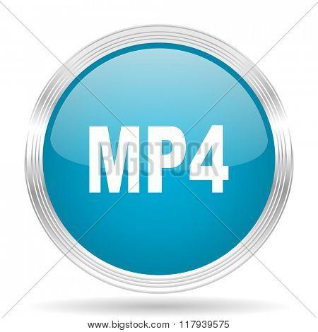 mp4 blue glossy metallic circle modern web icon on white background