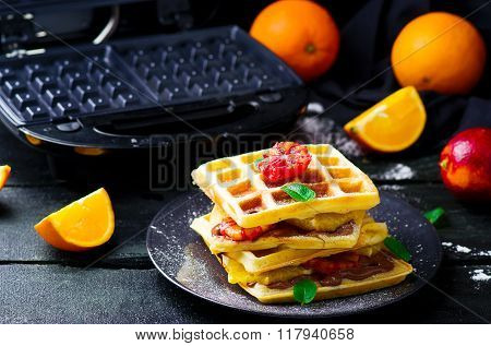 Vaffles With Nutella And Orange