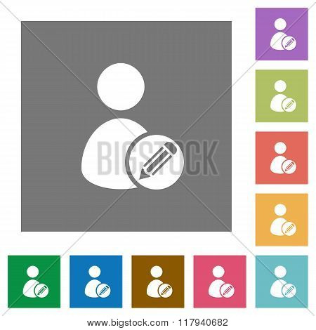 Edit User Profile Square Flat Icons