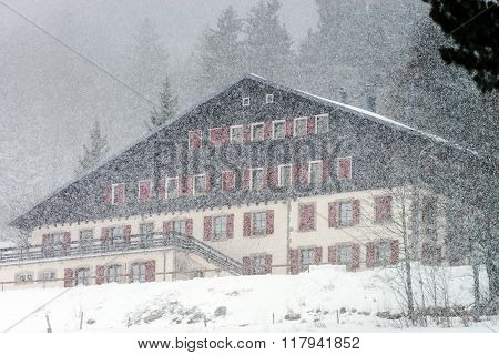 Hotel On Ski Resort While Snow Flurry