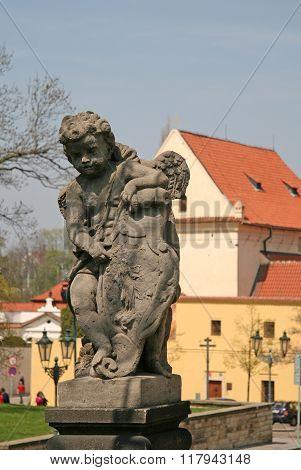 Prague, Czech Republic - April 24, 2010: Angel Statue At The Birth Of Christ Church Of Loreto In Pra