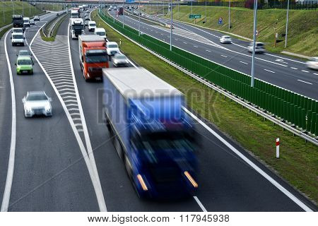 Four lane controlled - access highway in Poland. poster
