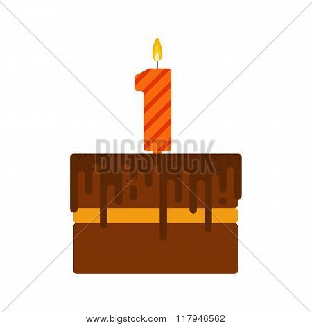 Vector Chocolate Biscuit Birthday Cake With A Candle Number 1