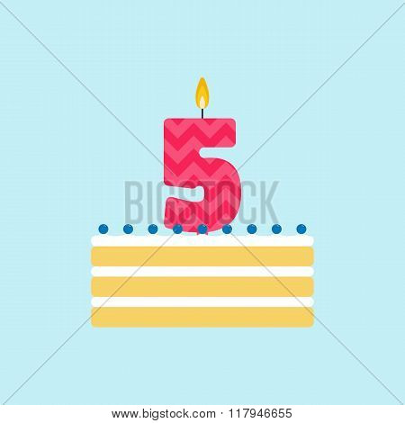 Vector Biscuit Birthday Cake With A Candle Number 5
