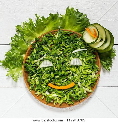 The Concept Of Ecology, Healthy Food - Green Vegetables As A Person