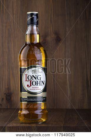 CHISINAU MOLDOVA - February 05 2016.Long John is a blended Scotch whisky carefully produced in the Scottish Highlands.