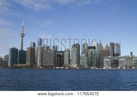 Toronto, Canada - January 28, 2016: Toronto Skyline From Lake, Ontario, Canada.